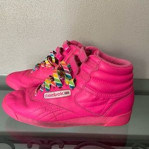 Hot Pink/ Rainbow High Top Reebok Size 6.5